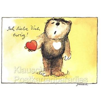 Janosch Postkarte Bär mit Herz - Ich liebe dich ewig