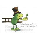 Janosch Postkarte mit Schornsteinfeger Frosch und Glücksklee