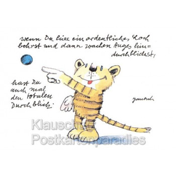 Totaler Durchblick | Lustige Janosch Postkarte mit dem Tiger