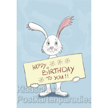 Happy Birthday to you Hase / Comic Doppelkarte Postkarte mit Umschlag