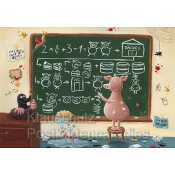 Klappkarte zur Einschulung - Das Chaosschwein an der Schultafel