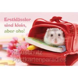Klappkarte Postkarte | 1. Schultag: Erstklässler sind klein, aber oho!