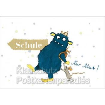 Postkarten zum Schulanfang -  Lustige Klappkarte für den 1. Schultag mit Monster