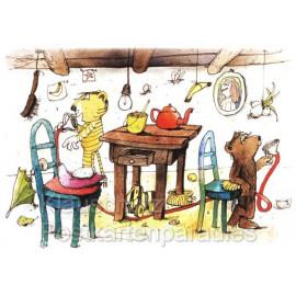 Schöne Janosch Postkarte mit Tiger und Bär