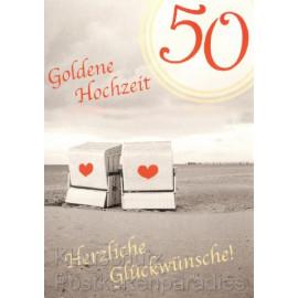 Doppelkarte Postkarte Goldene Hochzeit - Herzliche Glückwünsche