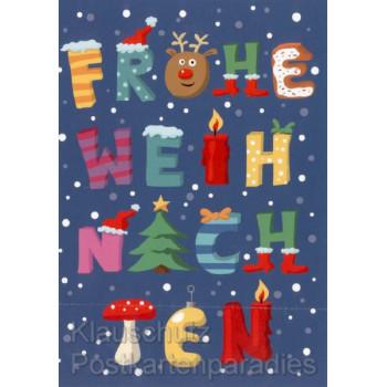Frohe Weihnachten Doppelkarte  Illustration Nastja Holtfreter