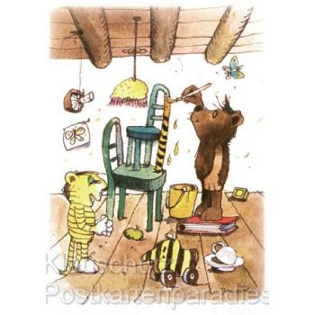 Janosch Postkarten | Tiger und Bär streichen das Haus