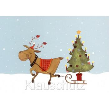 Weihnachtskarten Postkarten Comic RFW5302  Das Rentier bringt den Weihnachtsbaum
