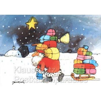 Janosch Weihnachtskarte mit dem Weihnachtsmann und vielen Geschenken