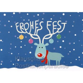 Weihnachtskarte von Rannenberg: Frohes Fest Rentier  Illustration: Nastja Holtfreter