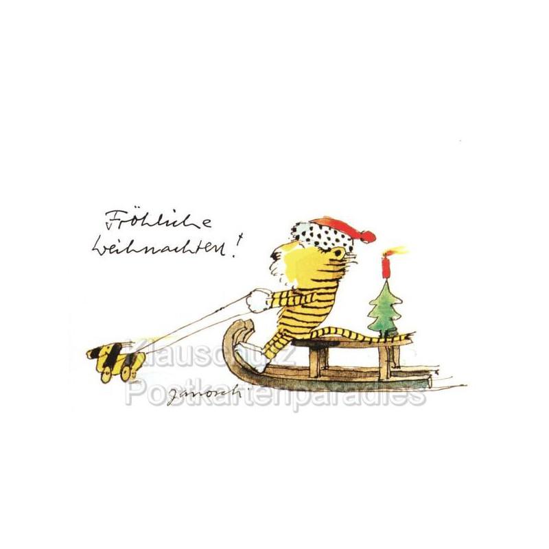 Janosch Weihnachtskarte - Tiger auf Schlitten