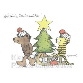 Fröhliche Weihnachte Janosch Postkarte mit dem Bär und dem Tiger