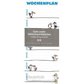Gute Laune Kühlschrankblock - Wochenplan 7 Tage Einteilung von Montag bos Sonntag mit lustigen Möwen Motiven