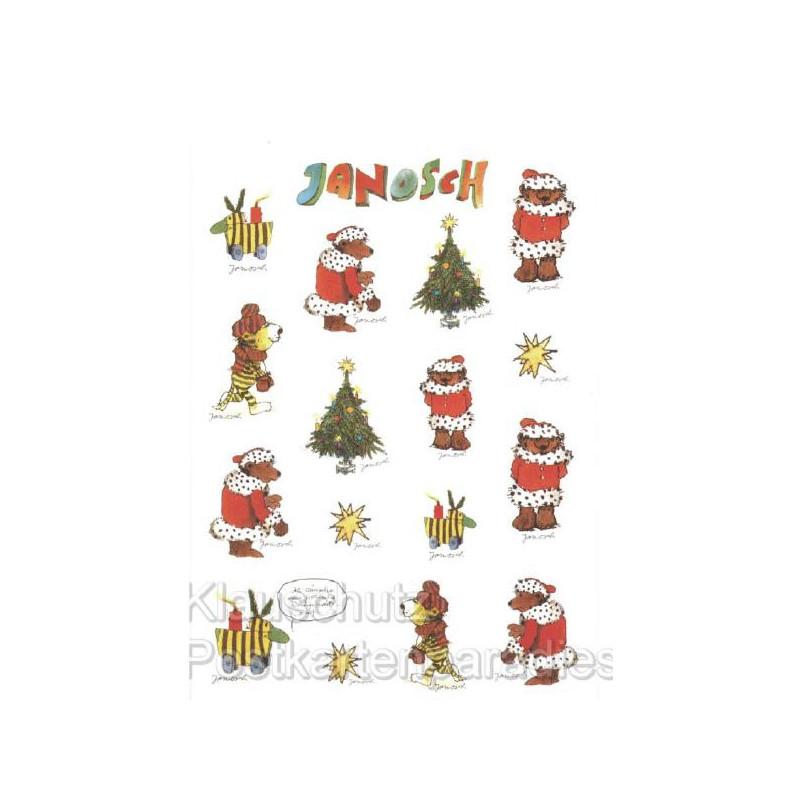 Janosch Stickerkarte Weihnachten mit Bär und Tiger