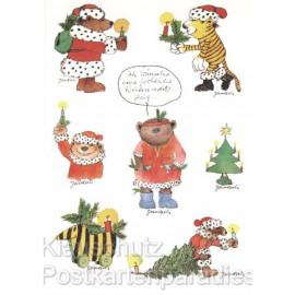 Postkarte Weihnachten mit Stickern von Janosch - Fröhliche Weihnachtszeit