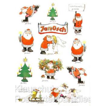 Weihnachtsgrüße von Janosch - Weihnachtskarte mit Stickern