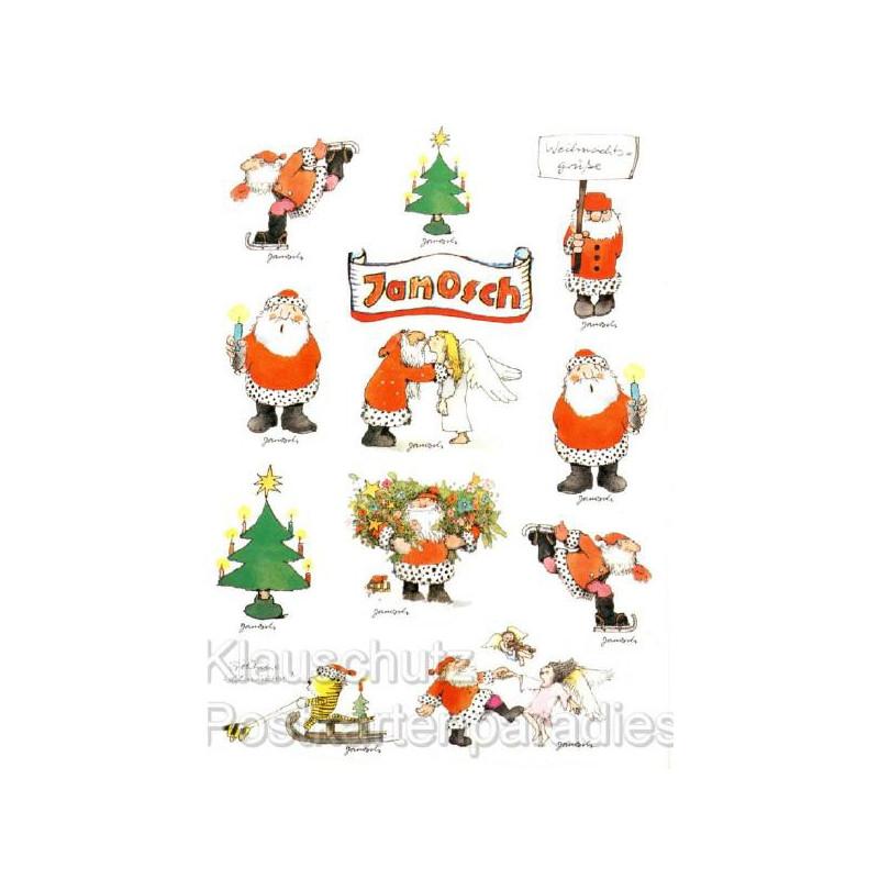 Weihnachtsgrüße Postkarte.Postkarte Sticker Janosch Weihnachten