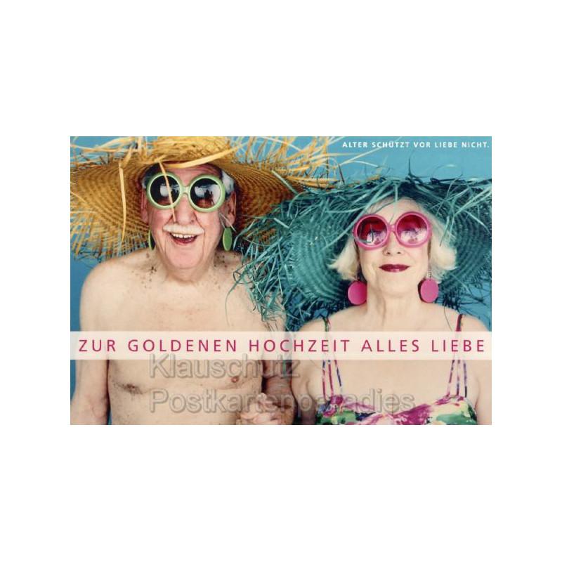 Doppelkarte Hochzeit: Alter schützt vor Liebe nicht. Zur goldenen Hochzeit alles Liebe.