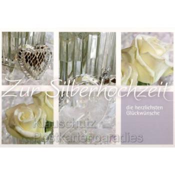 Doppelkarte zur silbernen Hochzeit: Zur Silberhochzeit die herzlichsten Glückwünsche