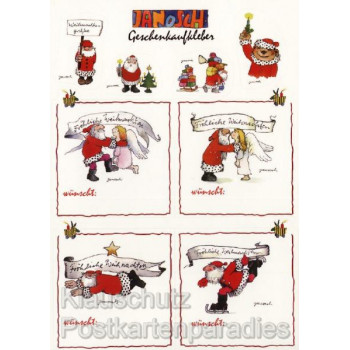 Janosch Weihnachtskarte mit schönen Geschenkaufklebern