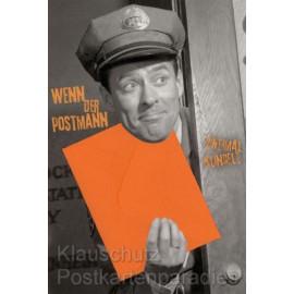 Lustige Doppelkarte zum Geburtstag - Wenn der Postmann zweimal klingelt - mit kleinem integrierten orangenem Umschlag.