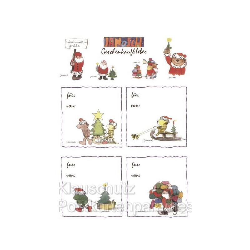 Postkarte mit weihnachtlichen Geschenkaufklebern von Janosch