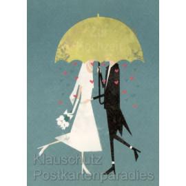 Stilvolle Doppelkarte zur Hochzeit mit Paar unterm Regenschirm