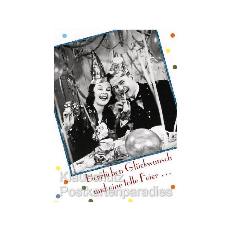 Postkarte Geburtstagsfeier: Herzlichen Glückwunsch und eine tolle Feier.
