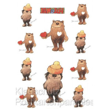 Janosch Postkarte mit Stickern mit dem Bär