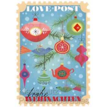 Love Post - Frohe Weihnachten Weihnachtskarte mit Teillackierung und strukturiertem Papier