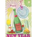 Happy New Year Postkarte Champagnerflasche und Neujahrsgrüße