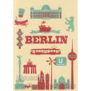 Berlin Icons - Postkarte mit partieller Glanzlackierung Berliner Bär, Schloß, Wannsee, Brandenburger Tor, Alexanderplatz.