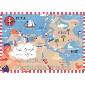 Schöne Ostsee Postkarte - Liebe Grüße vom Meer Rügen, Stralsund, Greifswald, Zingst, Hiddensee, ...