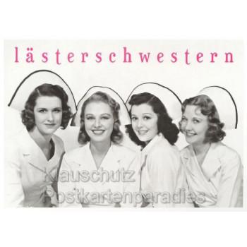 Lustige s/w Sprüchekarte: Lästerschwestern mit vier Krankenschwestern