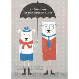 Postkarte - Zusammen ist man weniger allein - Grafikkarte