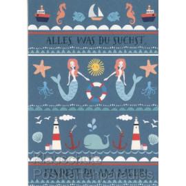 Postkarte von SkoKo mit Meerjungfrauen - Alles was du suchst, findest du am Meer!