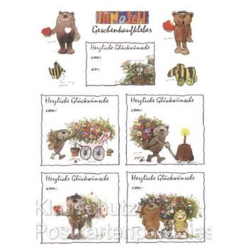 Geschenkaufkleber Postkarte von Janosch