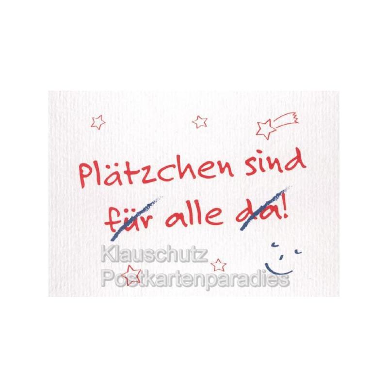 Lustige Postkarte Weihnachten: Plätzchen sind (für) alle (da)!