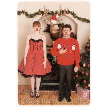 Postkarte Weihnachten - Verrücktes Fest Weihnachtskarte