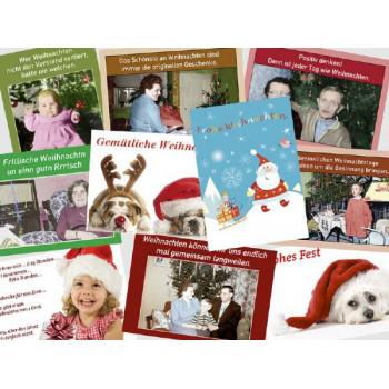 10 schöne und lustige Weihnachtskarten vom Postkartenparadies im Paket.
