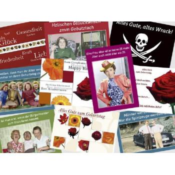 10 schöne und lustige Geburtstagskarten vom Postkartenparadies im Paket.