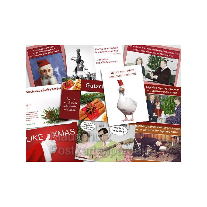 10 lustige Postkartenparadies Weihnachtskarten Postkarten im Paket.