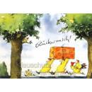 Hühner mit großem Paket - Glückwunsch   Postkarte von Peter Gaymann
