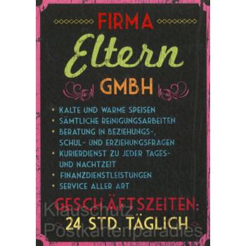 Firma Eltern GmbH - Witzige Sprüche Postkarte
