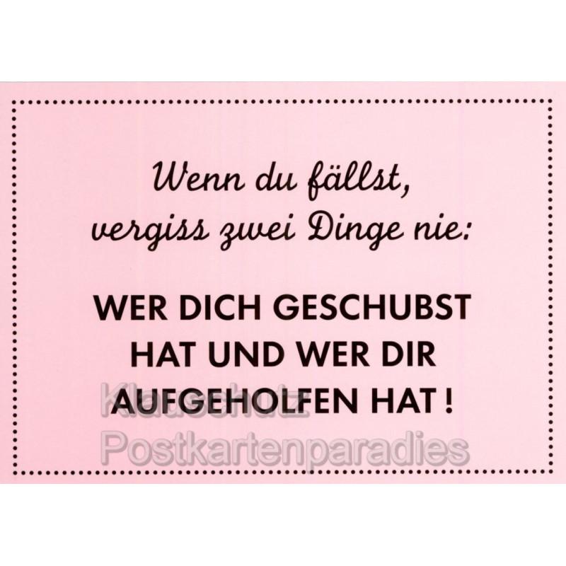 Sprüche Postkarte vom Rabenmütter Verlag - Wenn du fällst