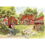 Pettersson und Findus Postkarte | Auf dem Bauernhof mit Hühnern