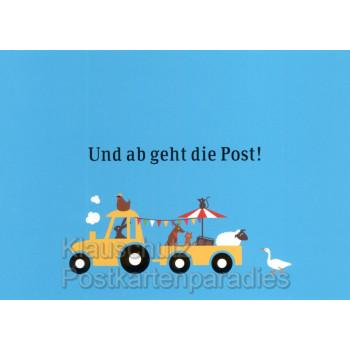 Und ab geht die Post | Postkarte