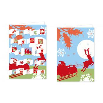 Weihnachtliche Schlittenfahrt Adventskalender von Rannenberg mit aufgeklappten Türchen