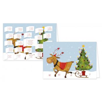 Postkarte Advent Kalender Rentier - mit der Geschichte von Rudolf dem Rentier - mit aufgeklappten Türchen.