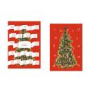 Adventskalender Doppelkarte mit der Geschichte des Weihnachtsbaums  - mit aufgeklappten Türchen.